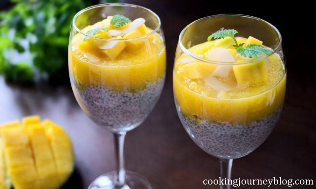 Chia Seed Pudding With Mango And Almond Flakes, chia seed recipes