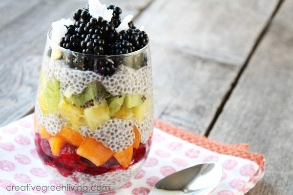 Layered Rainbow Chia Pudding, chia seeds food