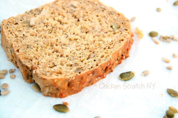 No Knead Seed Bread, chia seeds food