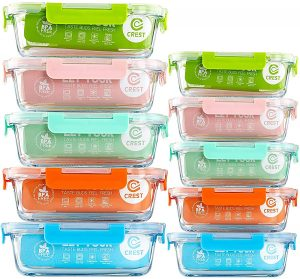10 pack Glass Food Storage Containers