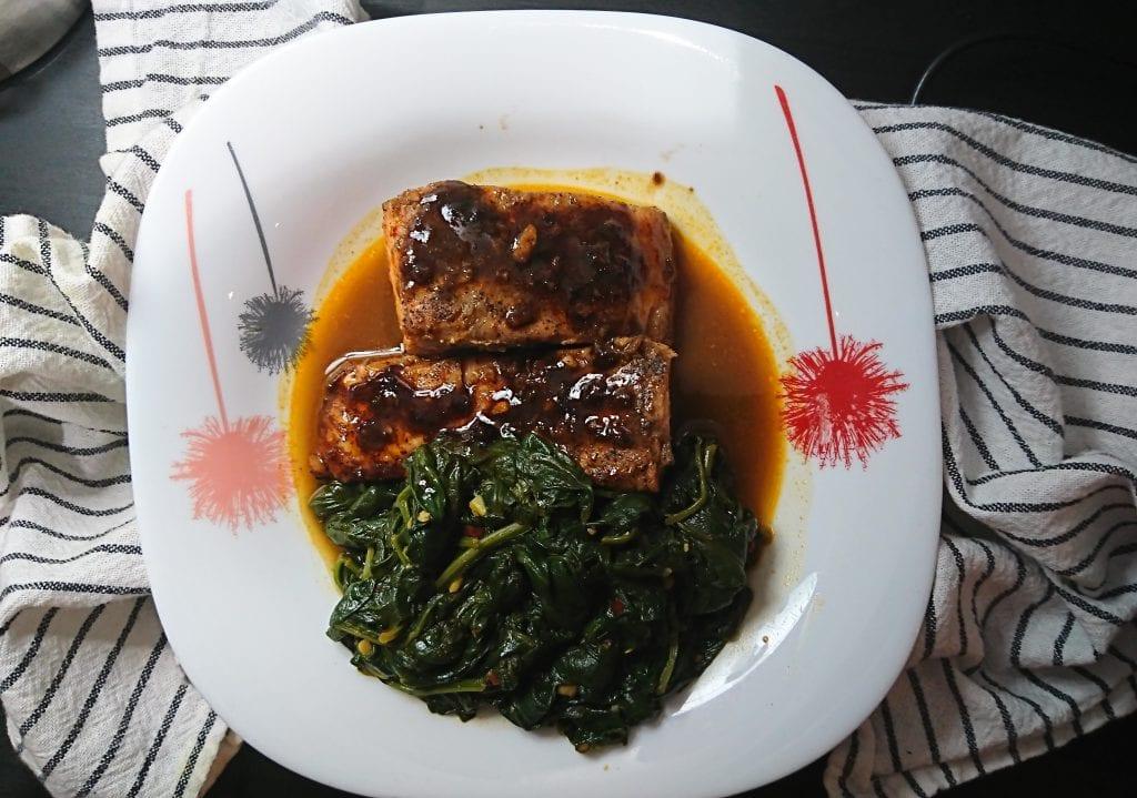 Baked Teriyaki Salmon & Sauteed Spinach