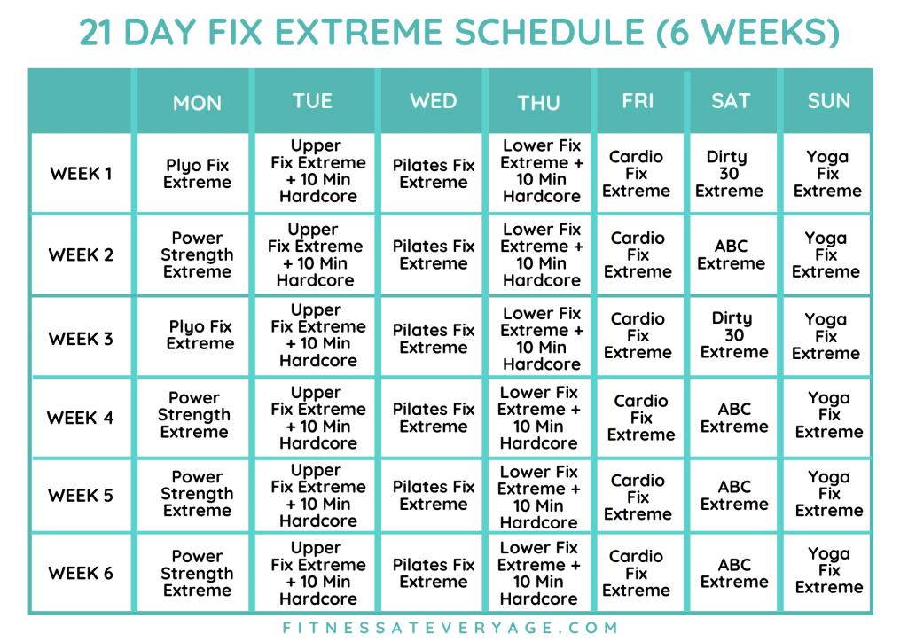 21 Day Fix Extreme Schedule - 6 Weeks