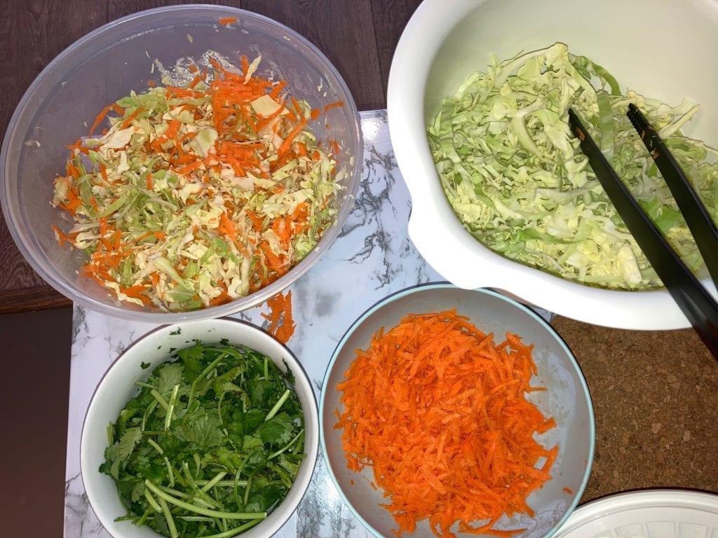 Vegan Cabbage Salad Prep